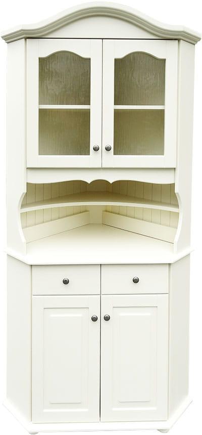 Biały Kredens Narożny Drewniany Krm 1n Z Sosny Do Kuchni Lub Salonu