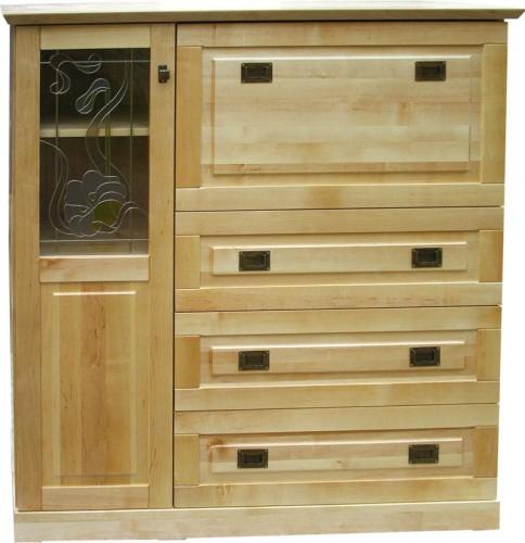 Modernistyczne Komoda-Barek drewniany KDB-2b z drewna litego na alkohol i wino UG23