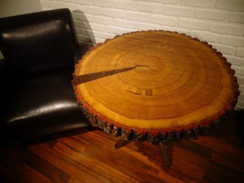 Super Stół okrągły live edge z plastra dębu - Meble ANZYS, producent XF22